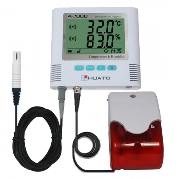 Huato A2000-EX-A01 Wall Mounted LCD Thermo-hygrometer External Sensor & Alarm (Accuracy: ±0.5℃)