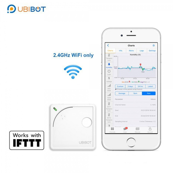 UbiBot WS1 WIFI Temperature Humidity Light Vibration Data Logger IoT System