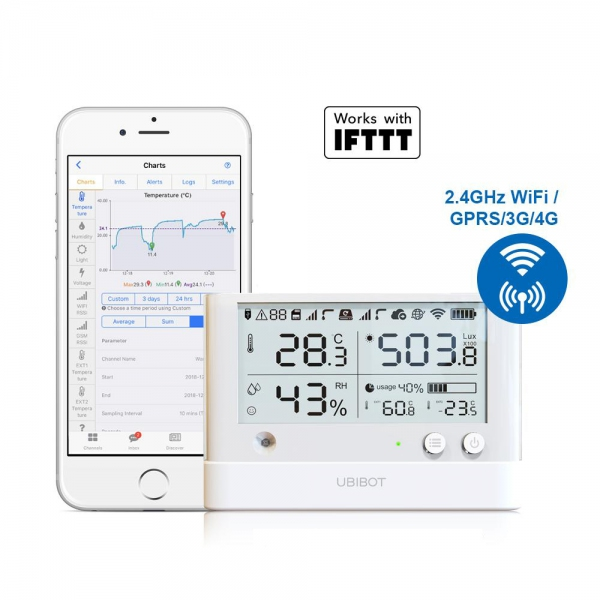 UbiBot WS1-Pro WIFI SIM Temperature Humidity Light Data Logger IoT System