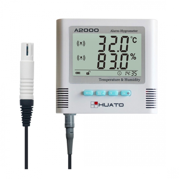 Huato A2000-EX Wall Mounted LCD Alarm Thermo-hygrometer External Sensor (Accuracy: ±0.5℃)