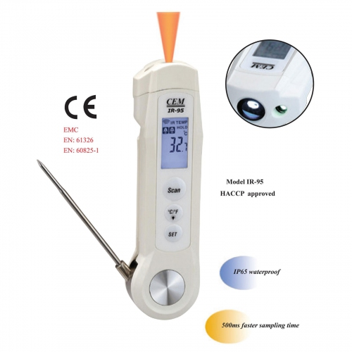 CEM IR-95 Food Safety Infrared Thermometer with Probe, -40~280ºC 4:1