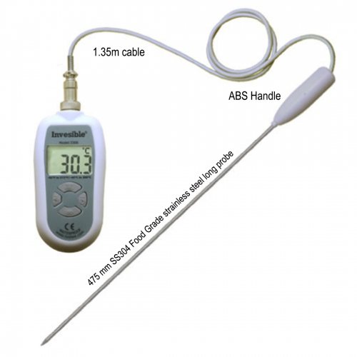Invesible 3306 Digital handheld Thermometer with 475mm long SS304 probe