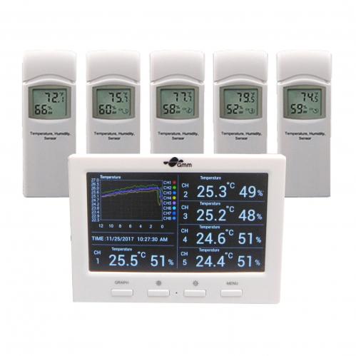 GMM Wireless Colour Display 8-Channel Weather Station with Datalogger (5 Sensors)